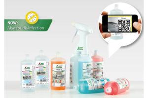 Nye generasjonen miljøvennlig renholdskjemi fra Tana har QR code som forklarer hvordan man vasker.