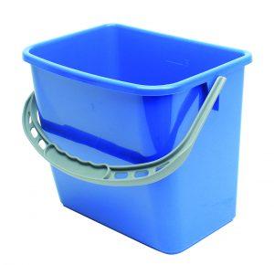 Grå firkantet bøtte m/ blått håndtak
